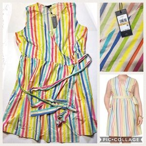 🆕 Tommy Hilfiger Rainbow Striped Wrap Dress NWT